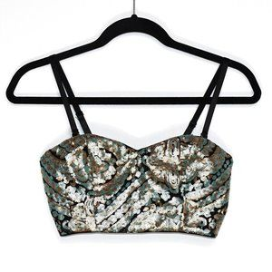Forever 21 Sequin Bustier Crop Top Medium